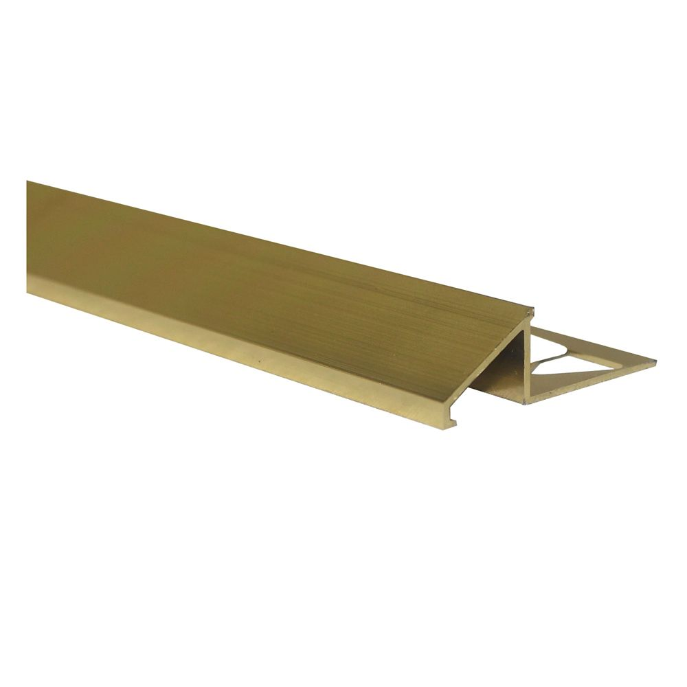Aluminum Tile Reducer 1/2 Inch(12MM) - 8 Foot - Bright Brass - Pack of 10