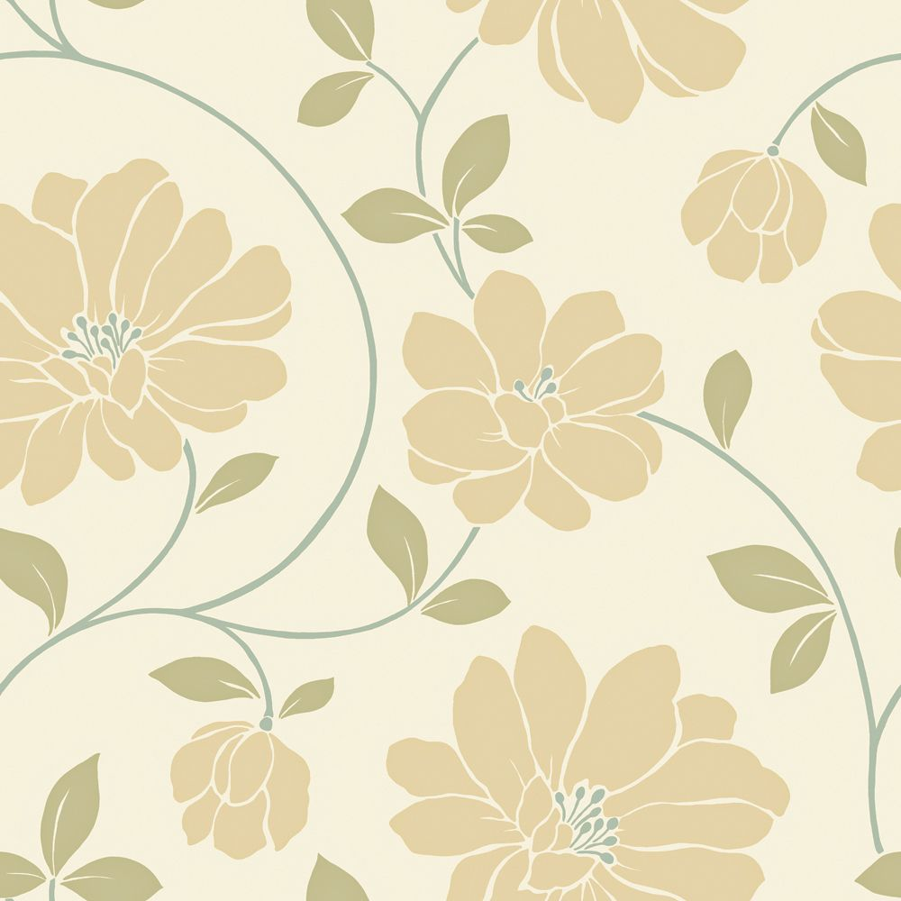 20.5 In. W Ochre, Cream and Sage Large Scale Modern Floral Trail Wallpaper WC1280622 Canada Discount
