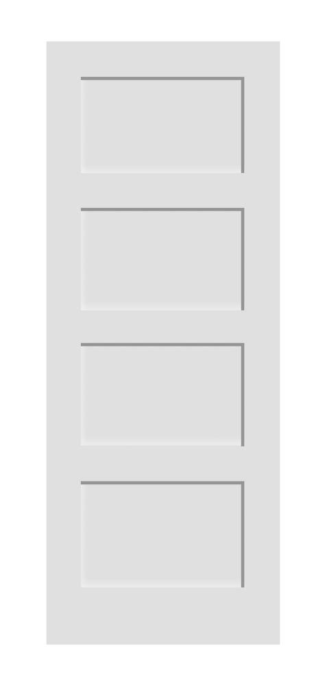 32-inch x 80-inch Primed A Zen 4 Panel Shaker Door