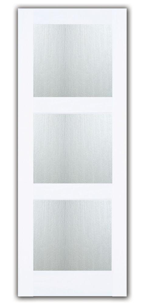 32-inch x 80-inch Primed 3 Lite Shaker French Door with Joel Berman Aqui Privacy Glass
