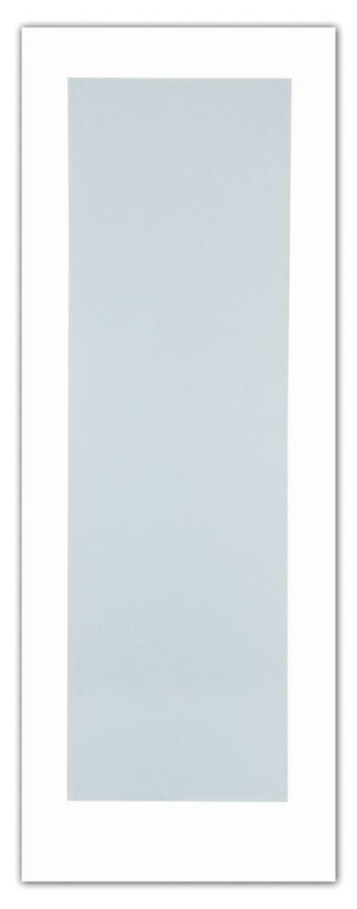 24x80 Porte de style Art Déco 1 verre Laminé Blanc en Apprêt blanc
