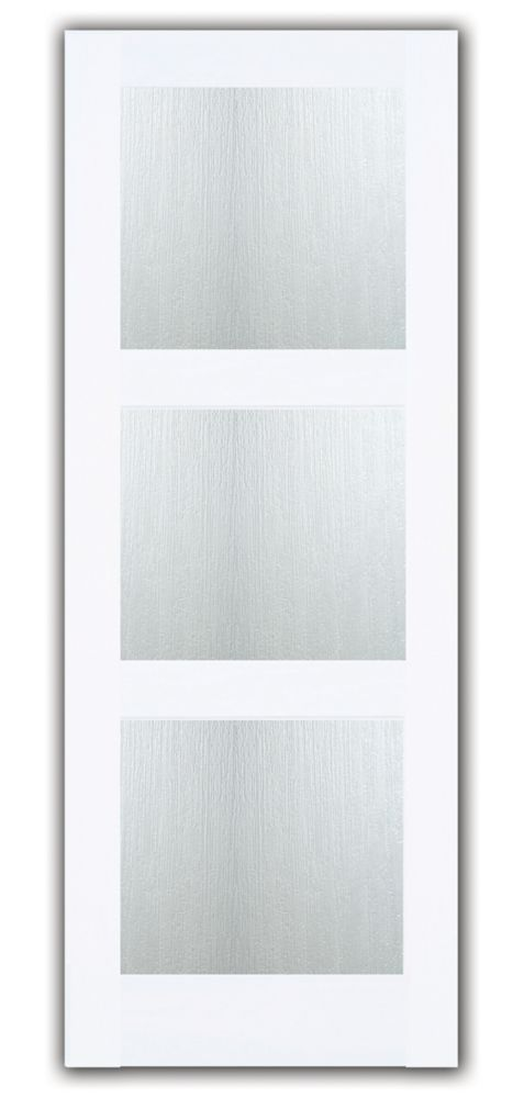 30-inch x 80-inch Primed 3 Lite Shaker French Door with Joel Berman Aqui Privacy Glass