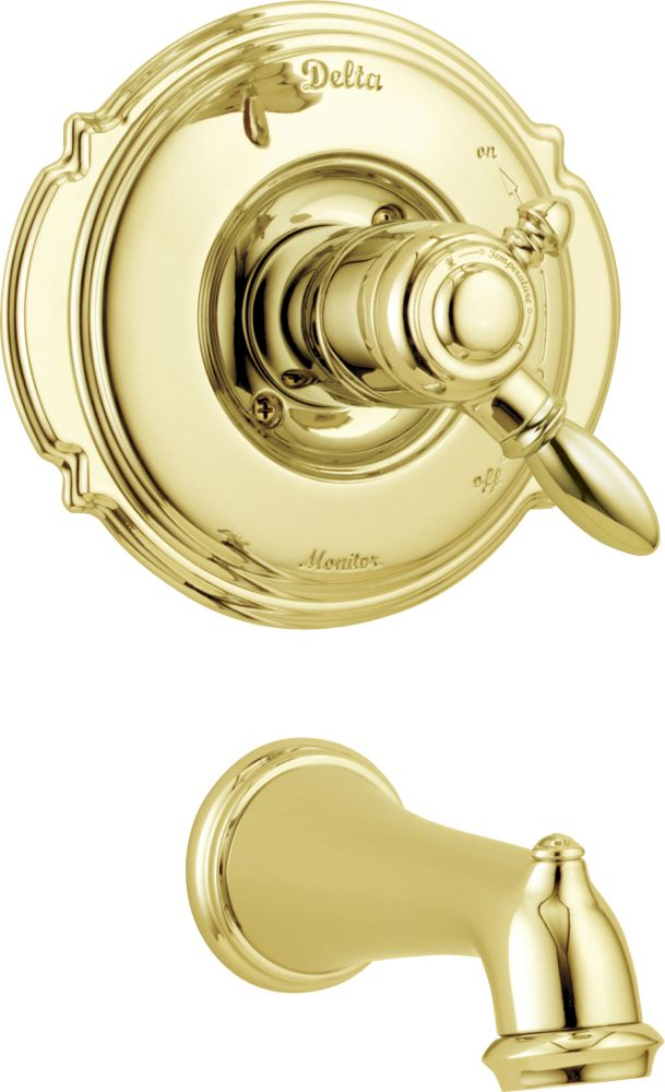 Victorian 1-Handle Tub Filler Faucet in Polished Brass Trim Kit Only (Valve not included)