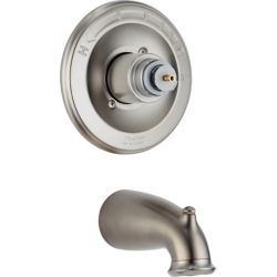 Delta Leland 1-Handle Pressure-Balanced Tub Filler Trim Kit in Stainless-Steel (Valve and Handles Not Included)