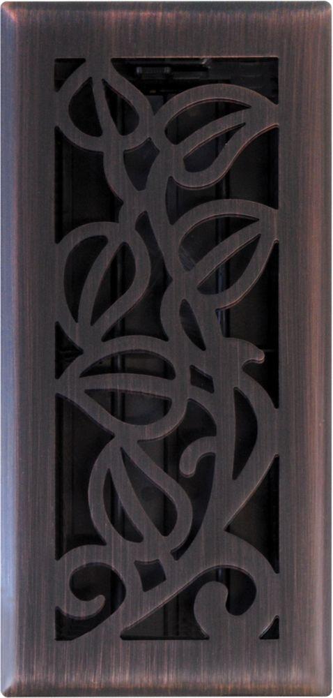 3 Inch X 10 Inch Oil Rubbed Vine Floor Register