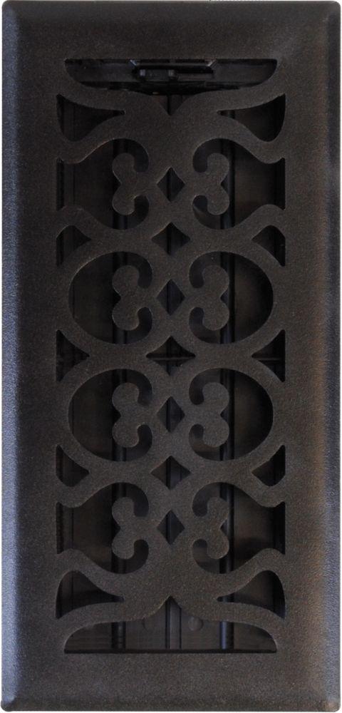 4po x 10po Registre de plancher à motif victorien noir