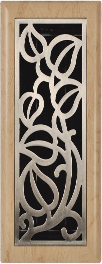 4po x 10po Registre de plancher à motif de vigne nickel satiné et chêne pâle