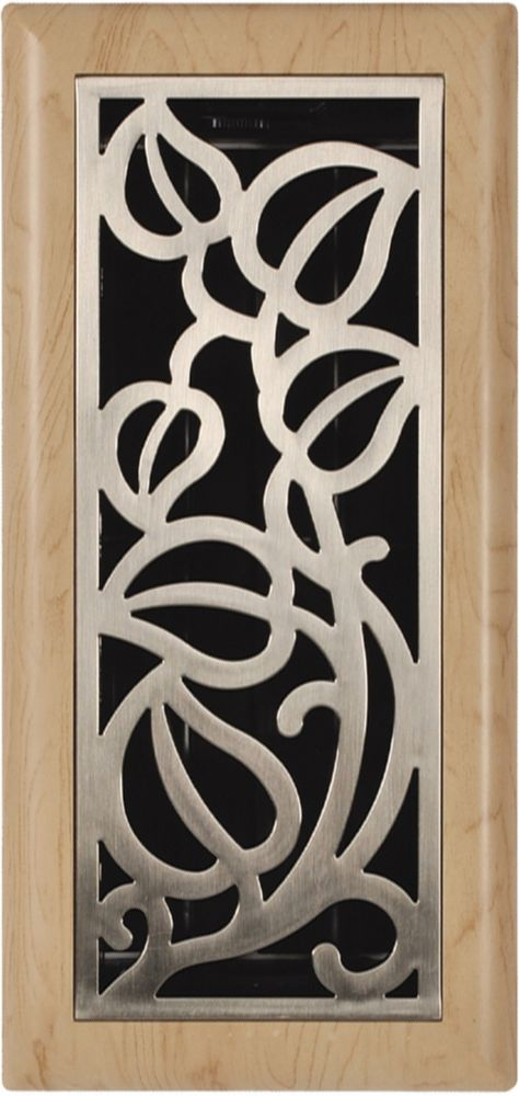 4po x 10po Registre de plancher à motif de vigne nickel satiné et érable