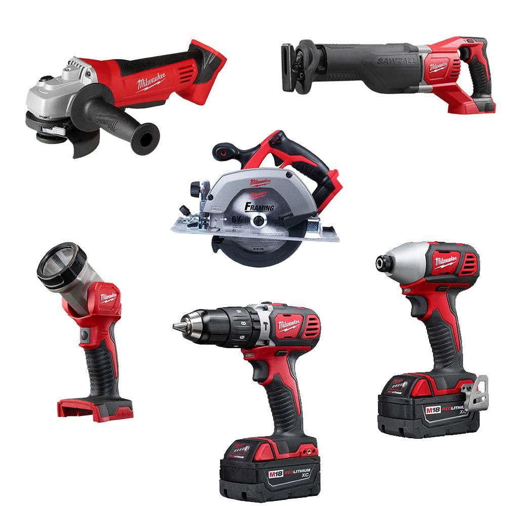 Milwaukee Tool M18 18V Lithium-Ion Cordless Combo Tool Kit (6-Tool) w/(2) 3.0 Ah Batteries, (1) Charger, (1) Tool Bag