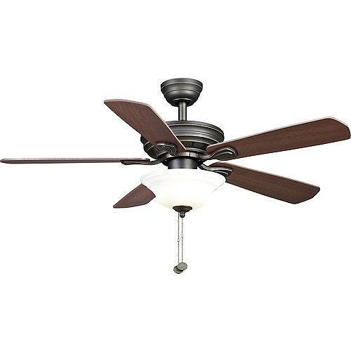 Hampton Bay Wellston 44-inch LED Indoor Oil Rubbed Bronze Ceiling Fan with Light Kit