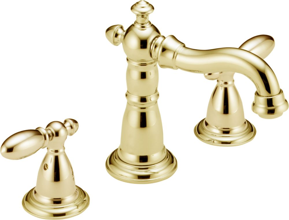 Victorian 8 Inch Widespread 2-Handle High-Arc Bathroom Faucet in Polished Brass 3555LFPB-216PB Canada Discount