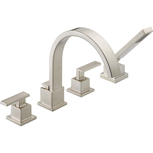 Vero 2-Handle Roman Bath Faucet with Hand Shower in Stainless Finish