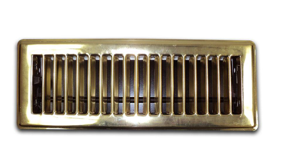 3 Inch x 10 Inch Brass Floor Register 6-Pack