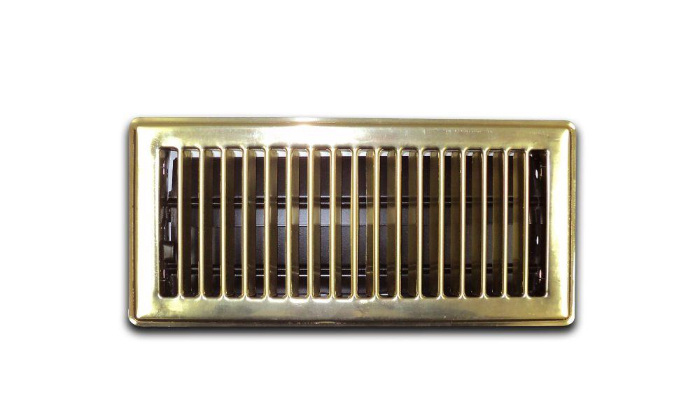 4 Inch x 10 Inch Brass Floor Register 6-Pack