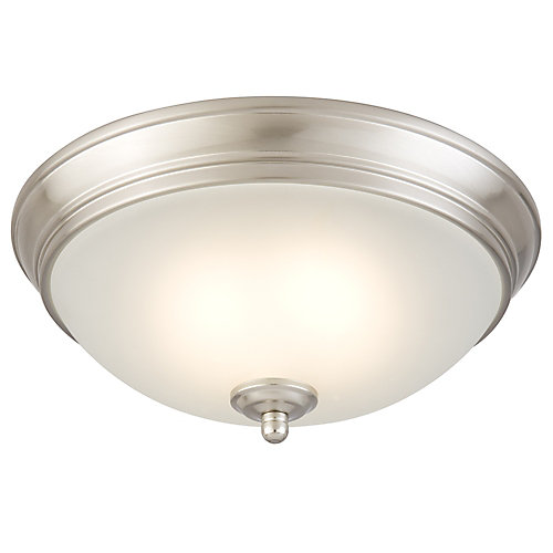 Commercial electric 11 inch brushed nickel integrated led ceiling 11 inch brushed nickel integrated led ceiling light with frosted glass mozeypictures Image collections