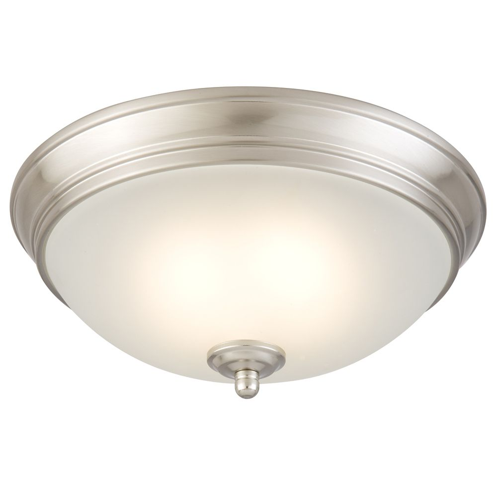 11 Inch Brushed Nickel LED Ceiling Light with Frosted Glass
