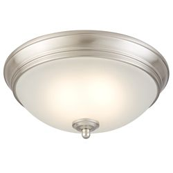 Commercial Electric 11-inch Brushed Nickel Integrated LED Flushmount Ceiling Light w/ Frosted Glass Shade - ENERGY STAR