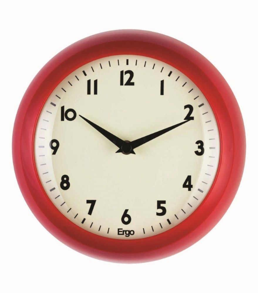 Retro 9 inch Red Wall Clock