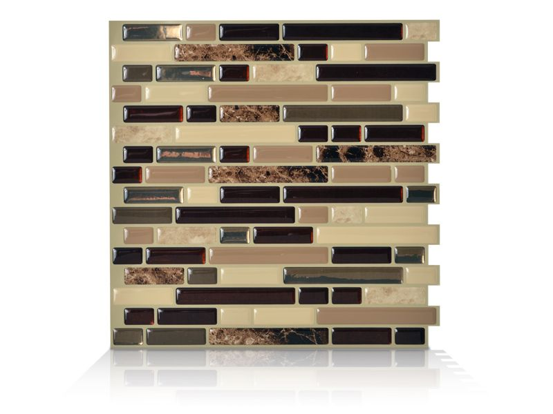 6 - Piece 10.13 Inch x 10 Inch Peel and Stick Bellagio Mosaik