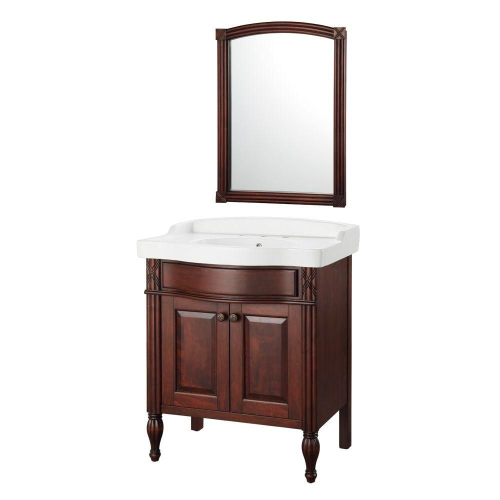 Odienne 32-inch W Vanity in Walnut with Vitreous China Top in White and Mirror