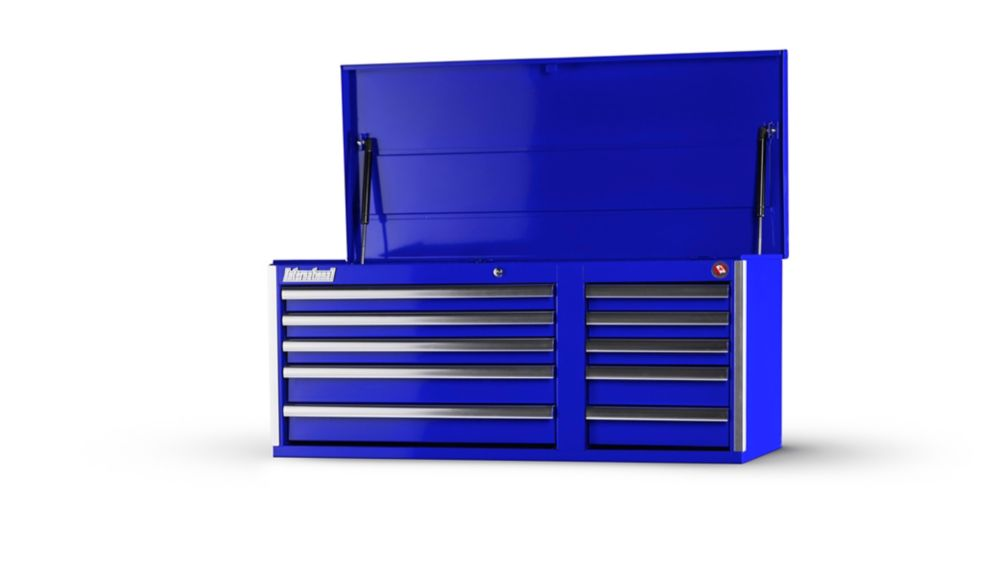 42 Inch 10 Drawer Blue Top Chest