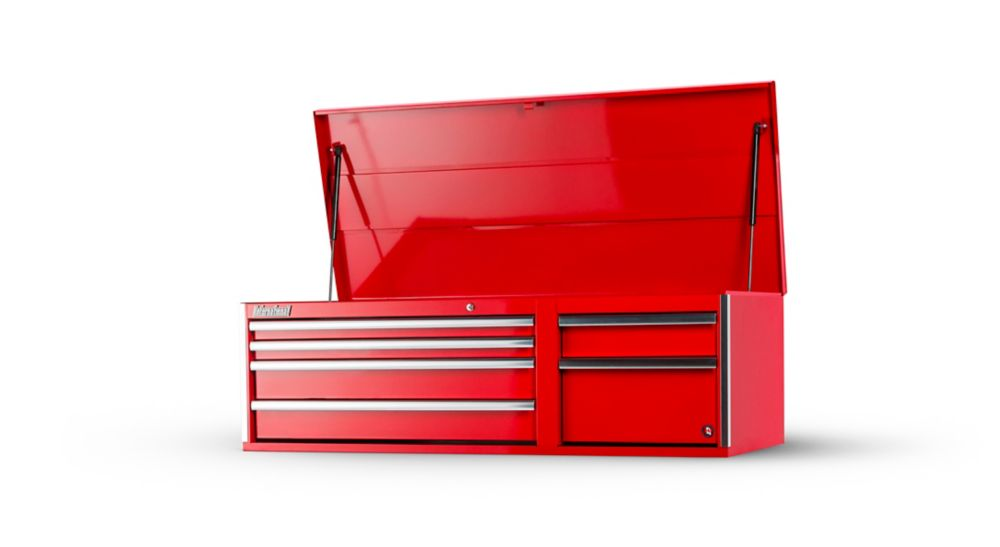 56 Inch 6 Drawer Red Top Chest