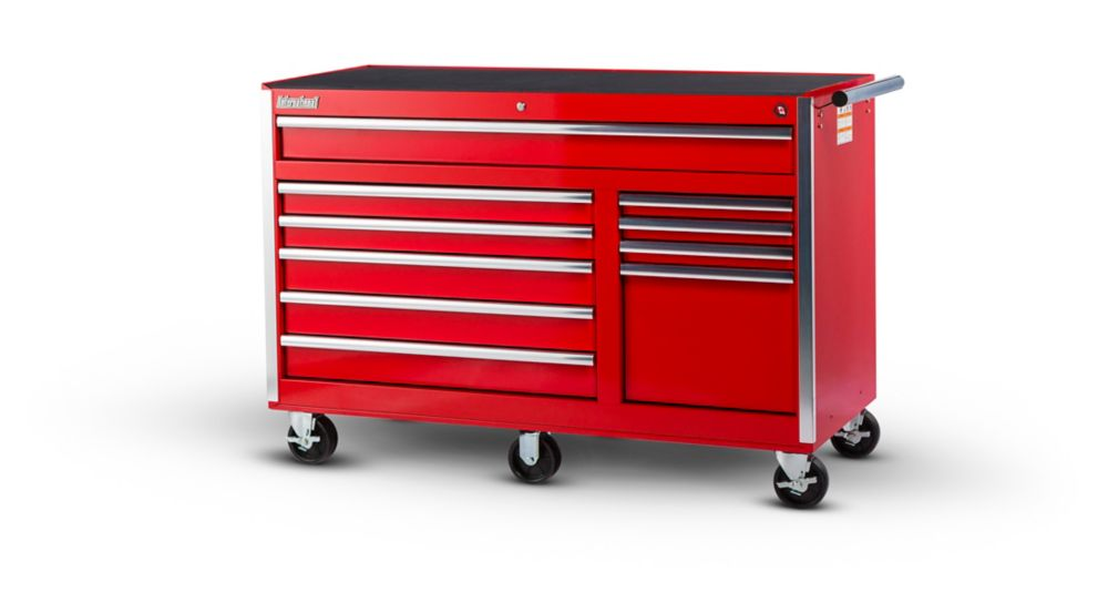 56 Inch 10 Drawer Red Tool Cabinet