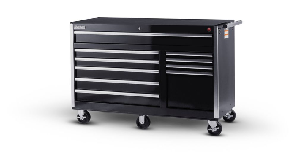 56 Inch 10 Drawer Black Tool Cabinet