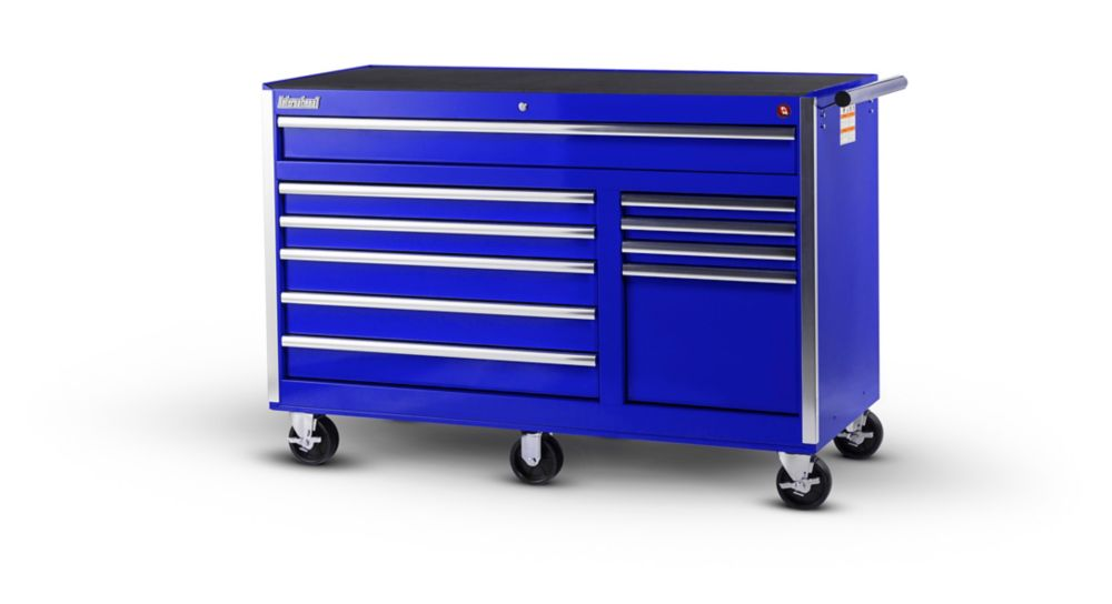 56 Inch 10 Drawer Blue Tool Cabinet