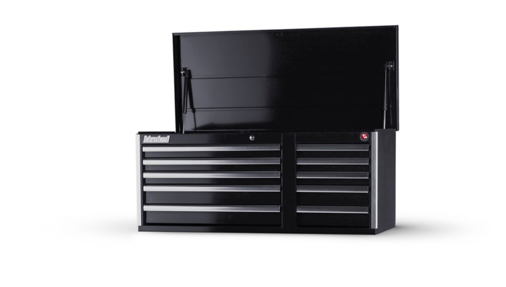 42 Inch 10 Drawer Black Top Chest