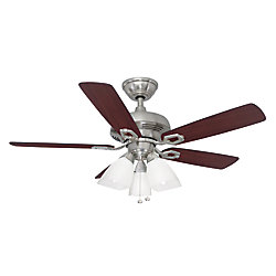 Hampton Bay St. David 44-inch 3-Light Brushed Nickel Indoor Ceiling Fan with Light Kit and Reversible Blades