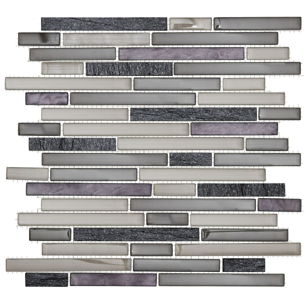13-inch x 11 3/4-inch Glass and Quartz Mosaic Pencil Wall Tile in Silver Sea