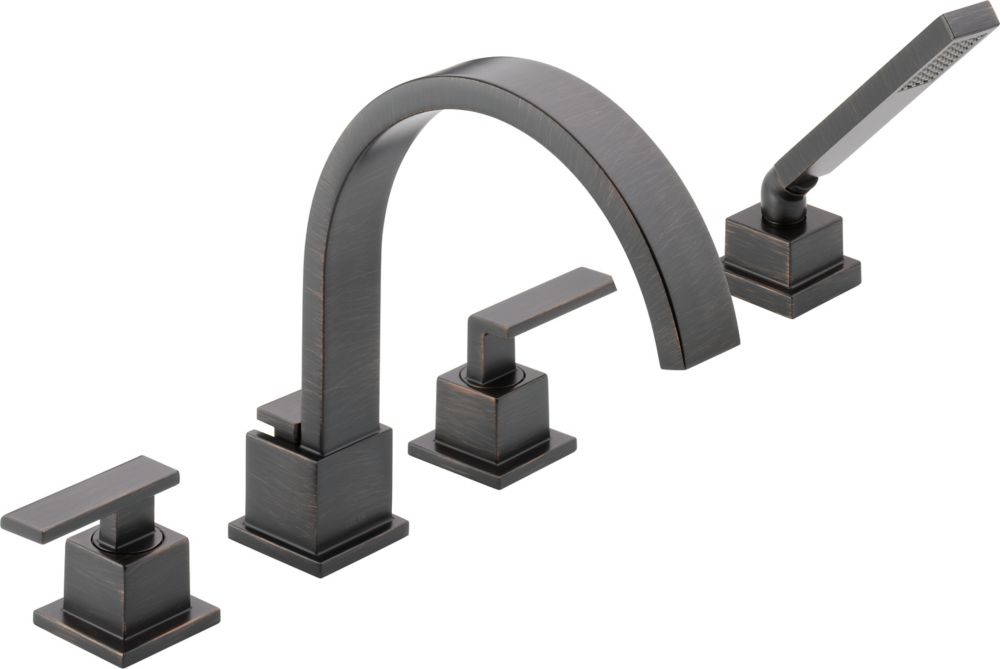 Vero 2-Handle Roman Bath Faucet with Hand Shower in Venetian Bronze Finish