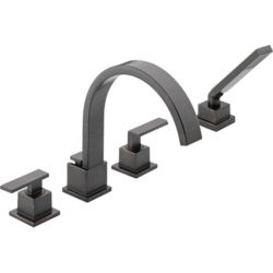 Delta Vero 2-Handle Roman Bath Faucet with Hand Shower in Venetian Bronze Finish