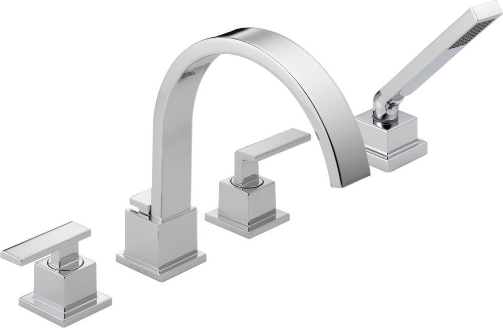 Vero - Garniture seulement, 2 manettes pour baignoire romaine avec douchette, Chrome