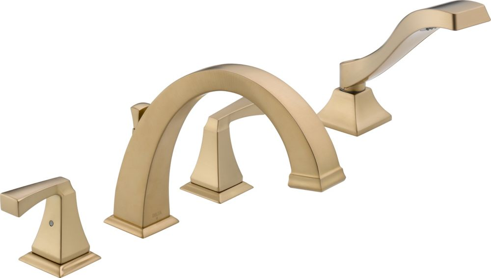 Dryden Deck-Mount Roman Bath Faucet with Hand Shower Faucet in Champagne Bronze Finish