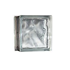 8 Inch x 8 Inch x 4 Inch Glass Block Decora Pattern Energy Efficient, case of 8