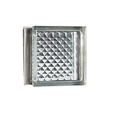 8 Inch x 8 Inch x 4 Inch Glass Block Delphi Pattern Energy Efficient, case of 8