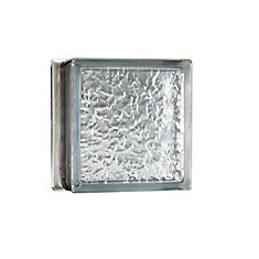8 Inch x 8 Inch x 4 Inch Glass Block IceScapes Pattern Energy Efficient, case of 8