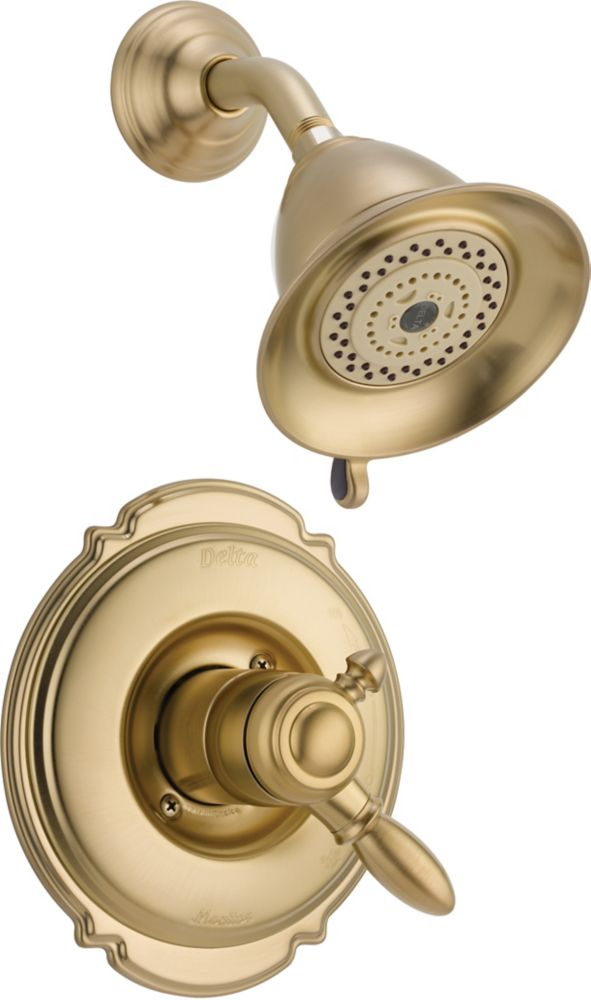 Victorian Single-Handle 5-Function Shower Faucet in Champagne Bronze