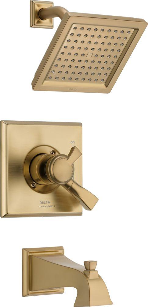 Dryden - Garniture pour baignoire et douche averse de pluie, 1manette et 1jet, Champagne Bronze