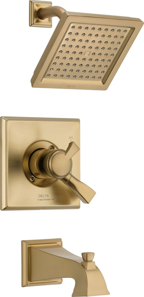 Dryden Single-Handle Single-Function Bath/Shower Faucet with Raincan Showerhead in Champagne Bron...
