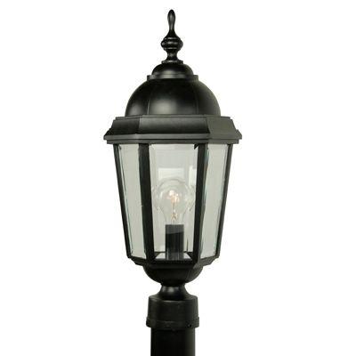 Vintage II, grand, luminaire sur poteau,  panneaux de verre biseauté clair, noir (poteau non-incl...