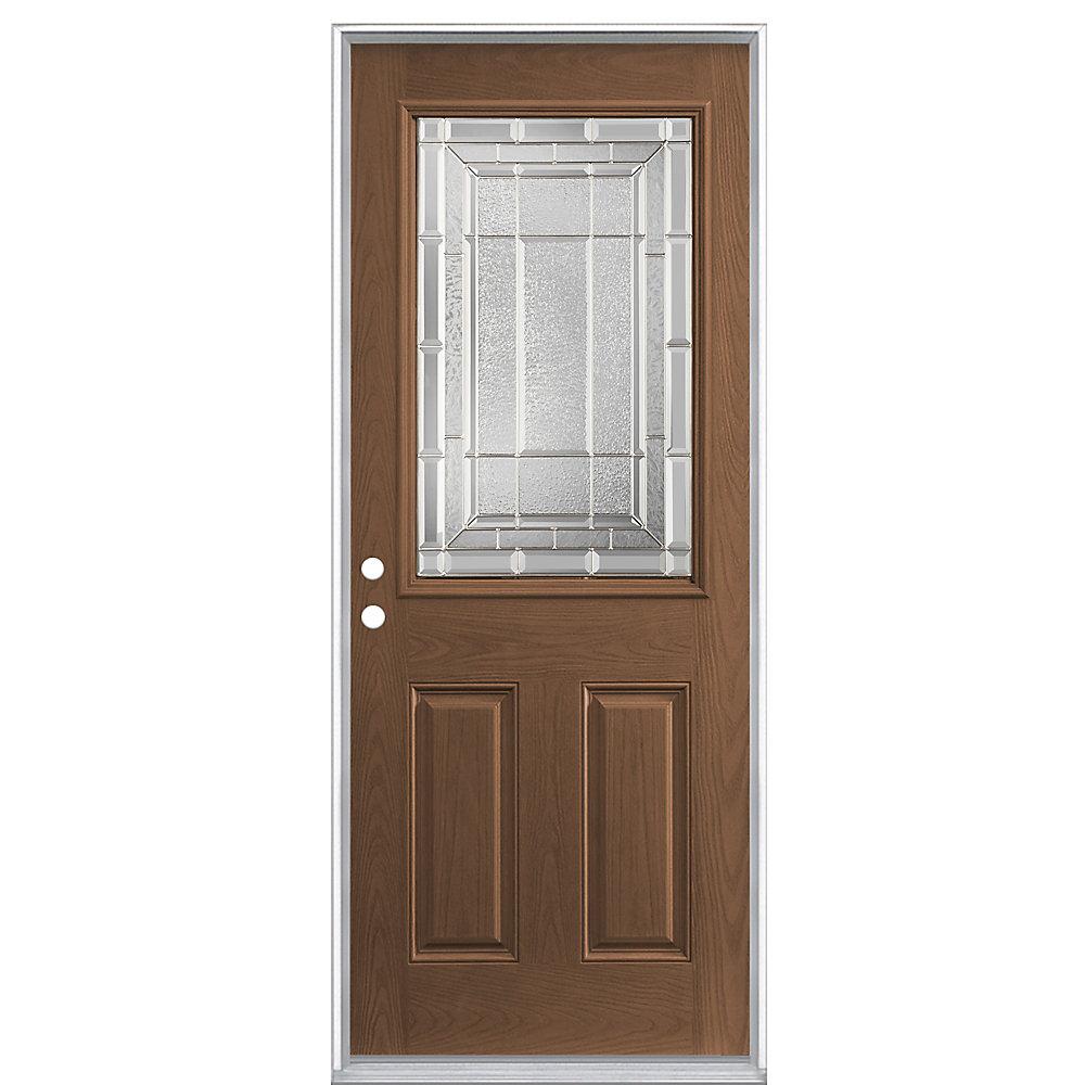 32-inch x 4 9/16-inch Caramel 1/2-Lite Left Hand Door