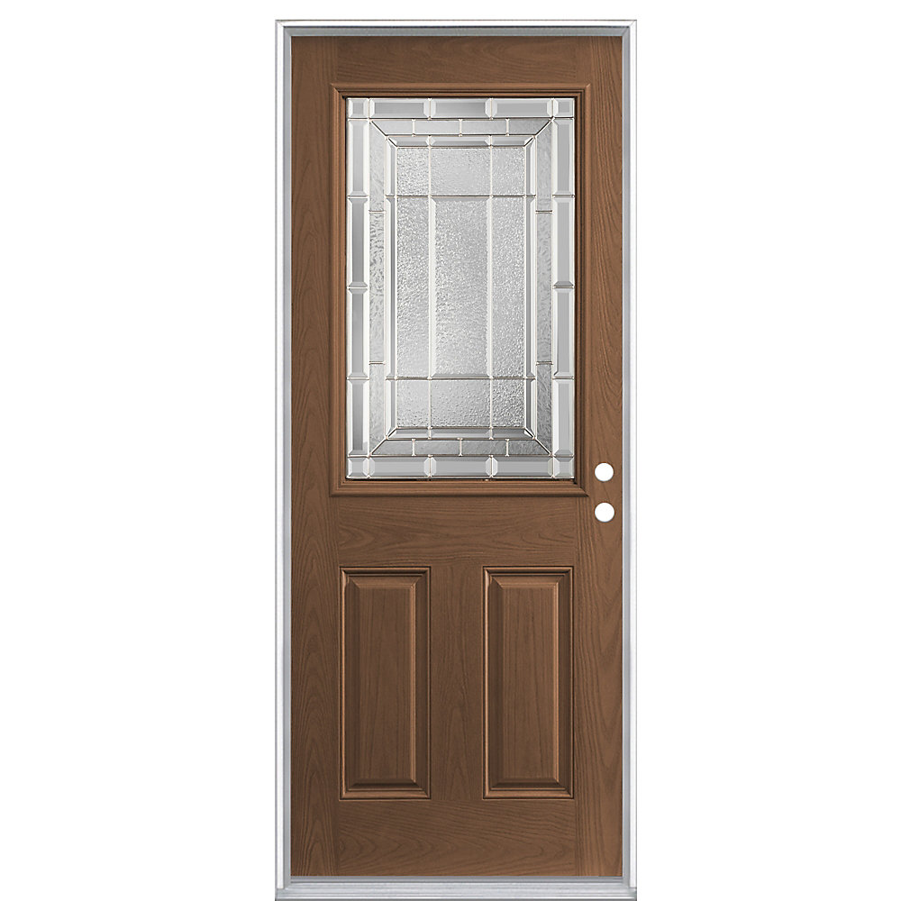 32-inch x 6 9/16-inch Caramel 1/2-Lite Right Hand Door