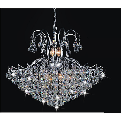 Spokes Collection 28-inch x 39-inch Crystal Chandelier in Polished Chrome