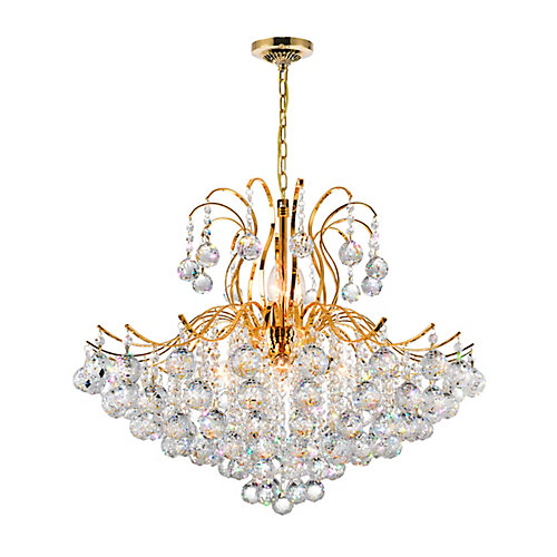 Spokes Collection 28-inch x 39-inch Crystal Chandelier in Polished Gold