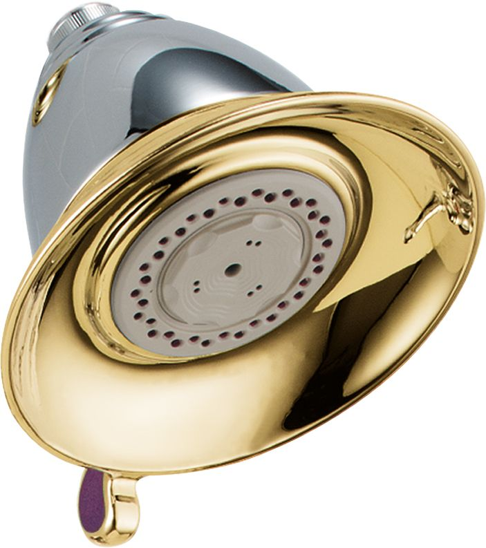 Victorian 3-Function 5 1/2-inch Touch-Clean Showerhead in Chrome and Polished Brass