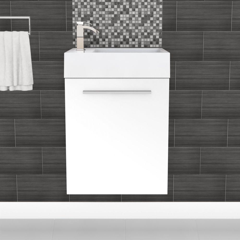 Meuble-lavabo Space Saving très lustré de la collection Boutique - blanc (Robinet non inclus)