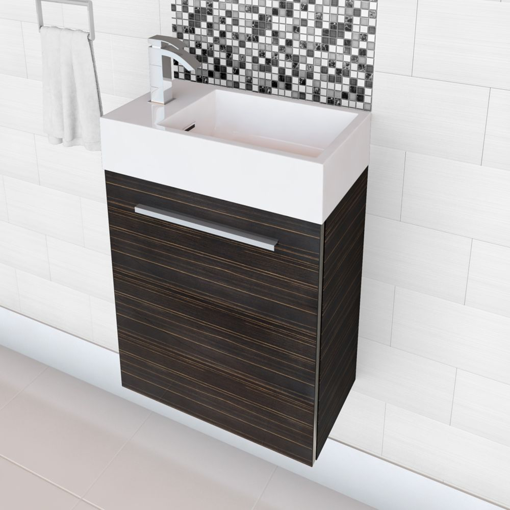 Boutique Collection High Gloss Space Saving Vanity- Brown Wood Grain (Faucet not included)